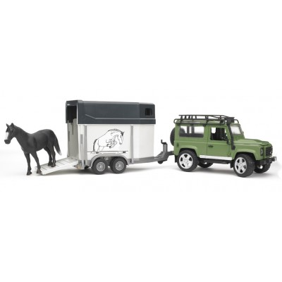 Bruder Land Rover Def. Station Wagon with Trailer & Horse