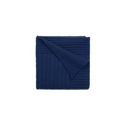 Cable Knit Blanket Navy 86Cm X 107Cm