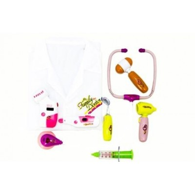 Electronic Doctor Set Pink With Uniform 8 Piece