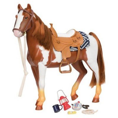 Our Generation 20 Inch Horse Trail Riding White And Brown With Accessories