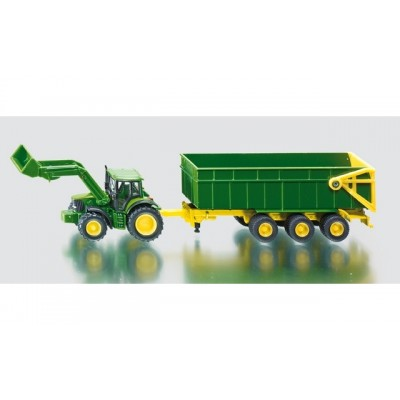 Siku 1/87 John Deere With Front Loader And Trailer