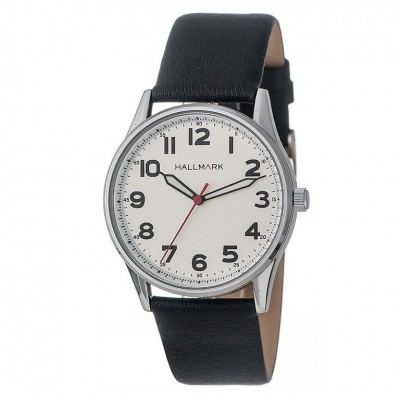 Hallmark Gents Silver Black Leather Watch With White Dial