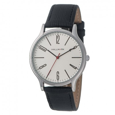 Hallmark Mens Silver Black Leather Watch With Silver Dial
