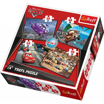 Trefl - 4 In 1 Puzzle (35+45+54+70) Piece Cars 2