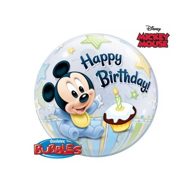 22 Inch Single Bubble Mic 1St Bday 1Ctp Foil Bag balloon
