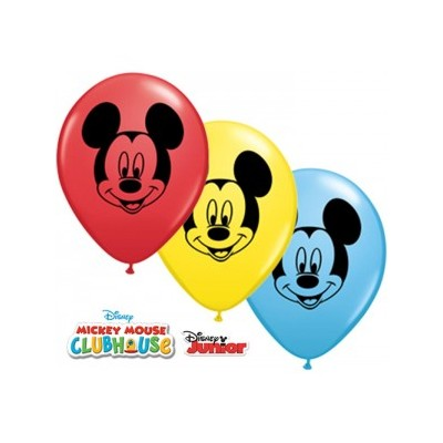 5 Inch Latex Mickey Mouse Face 1 Sided Prnt 100Ctp Polybag balloon