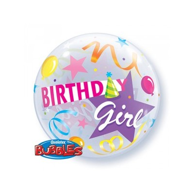 22 Inch Single Bubble Bday G P Hat 1Ctp Foil Bag balloon