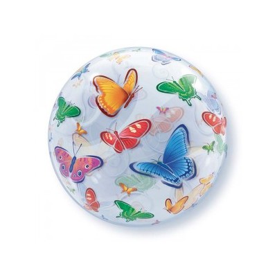 22 Inch Single Bubble Butterflies 1Ctp Foil Bag balloon
