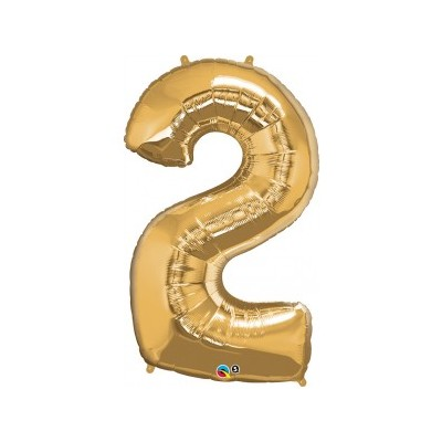43 Inch Foil Number 2 Metallic Gold 1Ctp Carded Polybag balloon