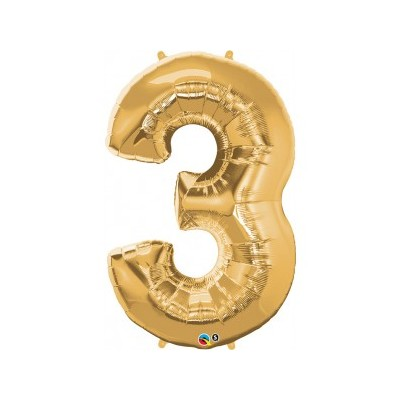 44 Inch Foil Number 3 Metallic Gold 1Ctp Carded Polybag balloon
