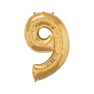 42 Inch Foil Number 9 Met Gold 1Ctp Carded Polybag balloon