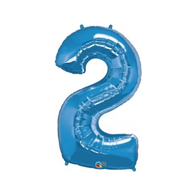 43 Inch Foil Number 2 Sapphire Blue 1Ctp Carded Polybag balloon
