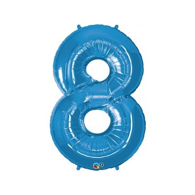 42 Inch Foil Number 8 Sapphir Blue 1Ctp Carded Polybag balloon