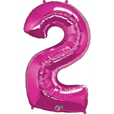 43 Inch Foil Number 2 Magenta 1Ctp Carded Polybag balloon