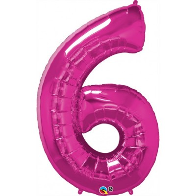 42 Inch Foil Number 6 Magenta 1Ctp Carded Polybag balloon