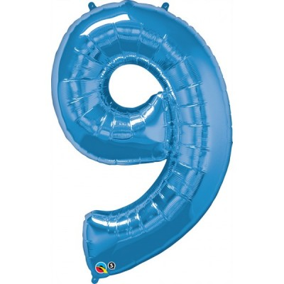 42 Inch Foil Number 9 Sapphi Blue 1Ctp Carded Polybag balloon