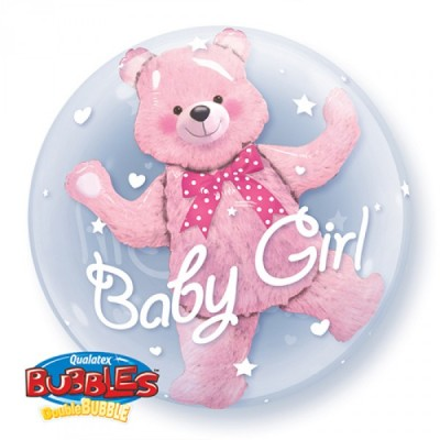 24 Inch Double Bubble Round Baby Pi Bear 1Ctp Foil Bag balloon