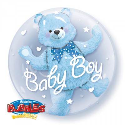 24 Inch Round Bubble Baby Bl Bear 1Ctp Foil Bag balloon