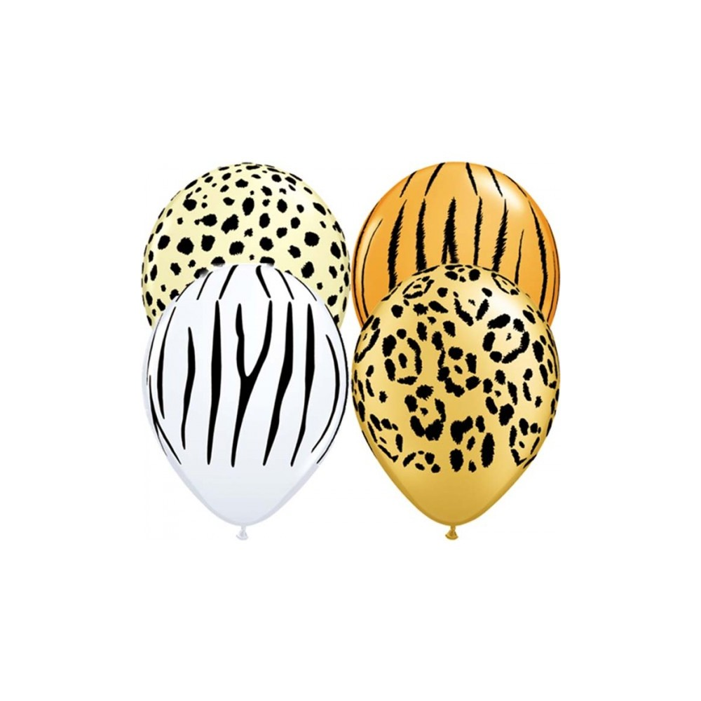 11 Inch Latex Rnd Special Ast Prt Safari Ast 50Ctp Polybag balloon