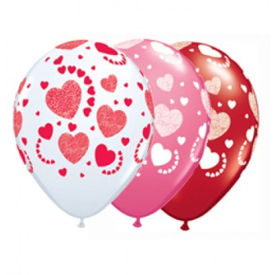11 Inch Latex Etched Hearts A Round 50Ctp Polybag balloon
