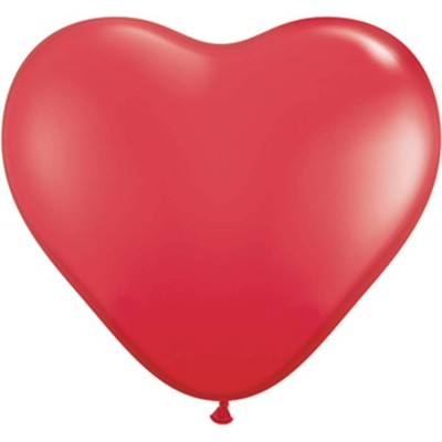6 Inch Latex Plain Hrt Red 100Ctp Polybag balloon