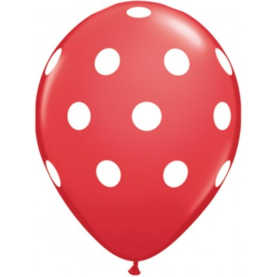 11 Inch Latex Rnd Red Prt Big Polka Dots Wht 50Ctp Polybag balloon