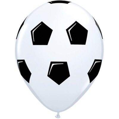 11 Inch Latex Rnd Wht Prt Soccer Ball 50Ctp Polybag balloon