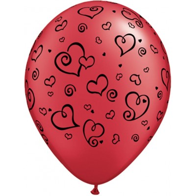 11 Inch Latex Ruby&Prl Wht Prt Swrlhrt Blk 50Ctp Polybag balloon