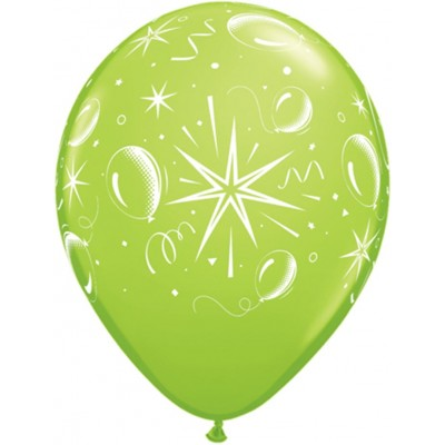 11 Inch Latex Rnd Tropical Ast Prt Sparkle 50Ctp Polybag balloon