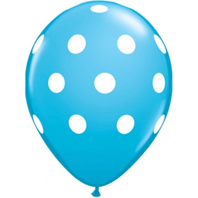 11 Inch Latex Rnd Robin Egg Prt Polka Dot 50Ctp Polybag balloon