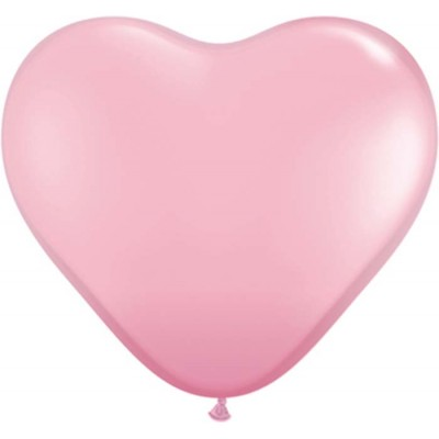 15 Inch Latex Plain Hrt Pink 50Ctp Polybag balloon