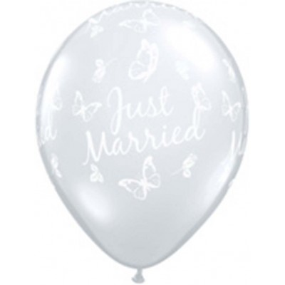 16 Inch Latex Just Married Butterflies A Rnd 50Ctp Polybag balloon
