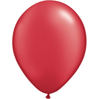 11 Inch Latex Rnd Prl Ruby Red 100Ctp Polybag balloon