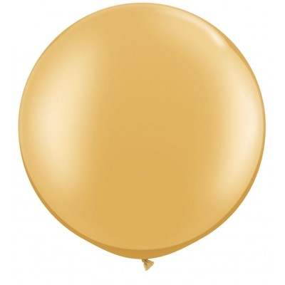 3 Ft Latex Plain Rnd Gold 2Ctp Polybag balloon