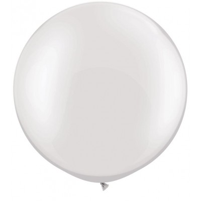 3 Ft Latex Plain Rnd Prl White 2Ctp Polybag balloon