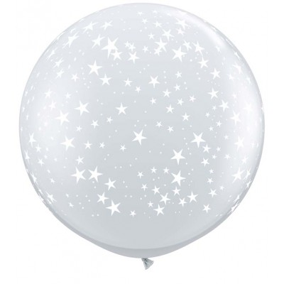 3 Ft Latex Printed Stars A Rnd Diamond Clear 2Ctp Polybag balloon