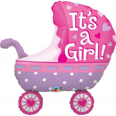 35 Inch Foil Shape Its A Girl Baby Stroller 1Ctp Carded Polybag balloon