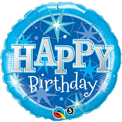 36 Inch Foil Rnd Sw Bday Blue Sparkle 1Ctp Carded Polybag balloon