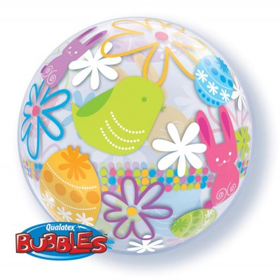 22 Inch Single Bubble Spring Bunnies&Flowers 1Ctp Foil Bag balloon