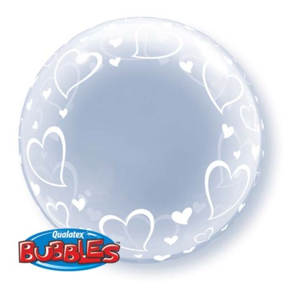 24 Inch Deco Bubble Stylish Hearts 1Ctp Foil Bag balloon