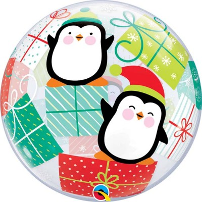 22Inch Single Bubble Penguins & Presents  1Ctp  Foil Bag balloon