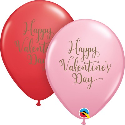 11 Inch Latex Red&Pink Happy Vday Script  50Ctp  Polybag balloon