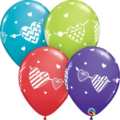 11 Inch Latex Rnd Special Ast Banner Hearts 50Ctp  Polybag balloon