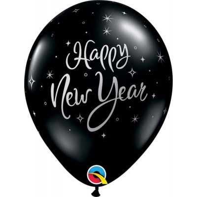 11 Inch Latex Rnd Onyx Blacknew Year Sparkle 50Ctp Polybag balloon