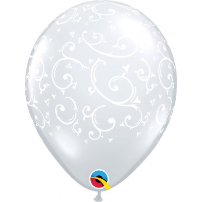 11 Inch Latex Filigree & Hearts - A - Round 50Ctp Polybag balloon