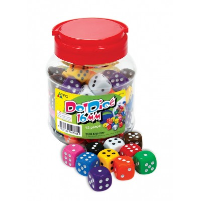TFC - Dice 6 Face Dot 16Mm Jar 72 Pieces