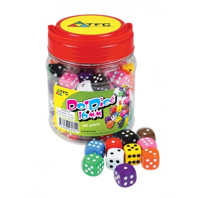 TFC - Dice 6 Face Dot 16Mm Jar 100 Pieces