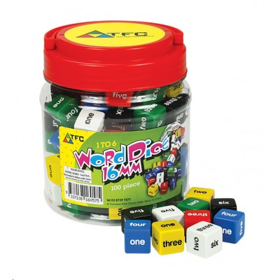 TFC - Dice 6 Face Words 1 - 6 16Mm Jar 100P