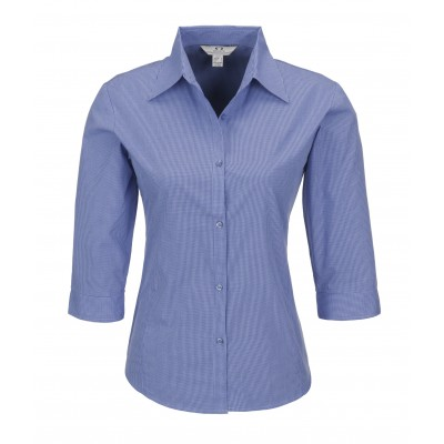 Micro Check Ladies 3/4 Sleeve Shirt Blue Size 2XL