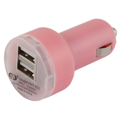 Car Lighter Usb Charger [Double] Pink